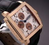 Gaspari 'Time Square'. Men's chronograph, 18 kt. rose gold with pale dial, 2000s