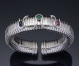 Bangle, white gold with ruby, emerald and sapphire
