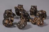 Knud Kyhn for Royal Copenhagen. Figurer af glaseret stentøj i form af bjørne (8)