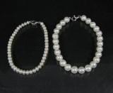 2 Zuchtperlarmbänder mit Schließen in Silber ( 2 )