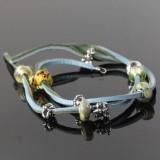 Troldekugler læder armbånd med charms