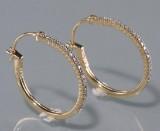 Par diamant øreringe ca. 0.24 ct. (2)