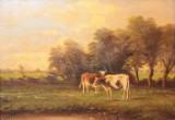 J. Wouters Gemälde Öl auf Holz Weidende Kühe