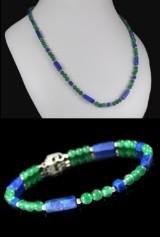 Kette und Armband aus grünem Achat, Lapis Lazuli und Sterlingsilber ( 2 )
