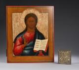 To russiske ikoner. Kirkeikon visende Kristus Pantokrator (verdensherskeren) samt bronzeikon, 1700- og 1800-tallet (2)