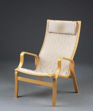 Unik Lænestol med stel af formspændt bøgetræ, sæde og ryg med flettede YR21