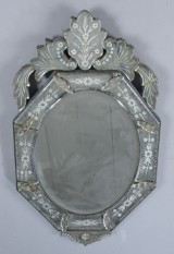 Venetiansk spejl af facetslebet spejlglas, ca. 1910