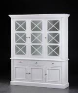 Stort vitrineskab, hvid antikbemaling (2)
