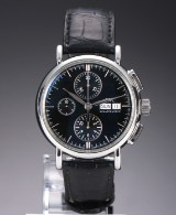 IWC 'Portofino Chronograph'. Men's watch, steel, with black dial, approx. 2008