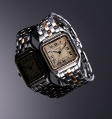 Cartier 'Panthere' midsize ladies' watch, 18 kt. gold and steel, date display, c. 1990'erne