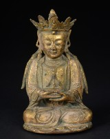 Chinese Guanyin figure in gilt bronze, presumably Ming