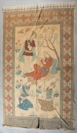 Indien. Batik / Antiker Wandtextil Holzdruck.