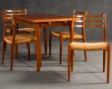 Niels O. Møller, set of 4 filigree chairs model 78 in teak for JL Møllers Møbelfabrik plus teak dining table (5)