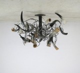 A very large horn ceiling lamp, custom made, 1980s/1990s
