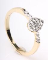 Diamantring, 14 kt guld, ca. 0.31 ct.