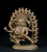 Tibetanische Mahakala Figur aus Bronze, Qing