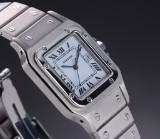 Cartier 'Santos' men's watch, steel, white dial, date,1990's