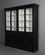 Two-section glass cabinet, black antiqued paint (2)