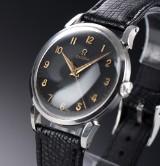 Vintage Omega men's watch, steel, black dial, c. 1951