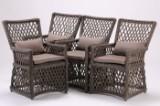 Fire stole i kolonistil, brunt flettet polyrattan (4)