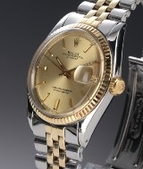 Rolex 'Datejust'. Men's watch, 18 kt. gold and steel, with champagne-coloured dial, c. 1971