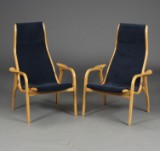 Yngve Ekstrøm/ Swedese. Par højryggede lænestole, model Lamino (2)