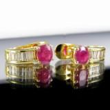 Øreringe af guld med rubiner og diamanter, par ( 2 )