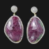 Gold/silver earrings with ruby zoisites and diamonds (2)
