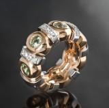 Heavy brilliant-cut diamond and sapphire ring, bicolour, gold, ladies' approx. 0.46 ct.