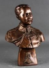 Buste af orientalsk militærperson eller statsoverhoved, bronzestøbning