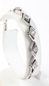 Diamantarmbånd, 18 kt. hvidguld, Vægt ca. 14,4 gram