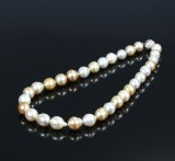 South-Sea diamond cultured pearl necklace, saltwater pearls. Pearl Ø approx. 12.10 - 13.95 mm. L. 21 cm.