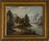 Maleri med bjerglandskab, signeret Gerard