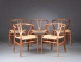 Hans J. Wegner. Five Wishbone chairs, model CH-24 (5)