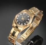 Rolex Datejust. Vintage ladies watch, 18 kt. gold with diamond dial, c. 1979