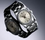 Rolex 'Oyster Perpetual'. Dameur i stål med sølvfarvet skive, ca. 1991