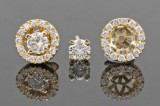 Earrings in 14k yellow gold set with brilliant cut diamonds 0.74 ct
