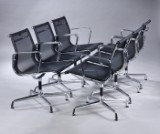 Charles Eames. A set of six lounge chairs in black woven mesh, Model 108 (6)