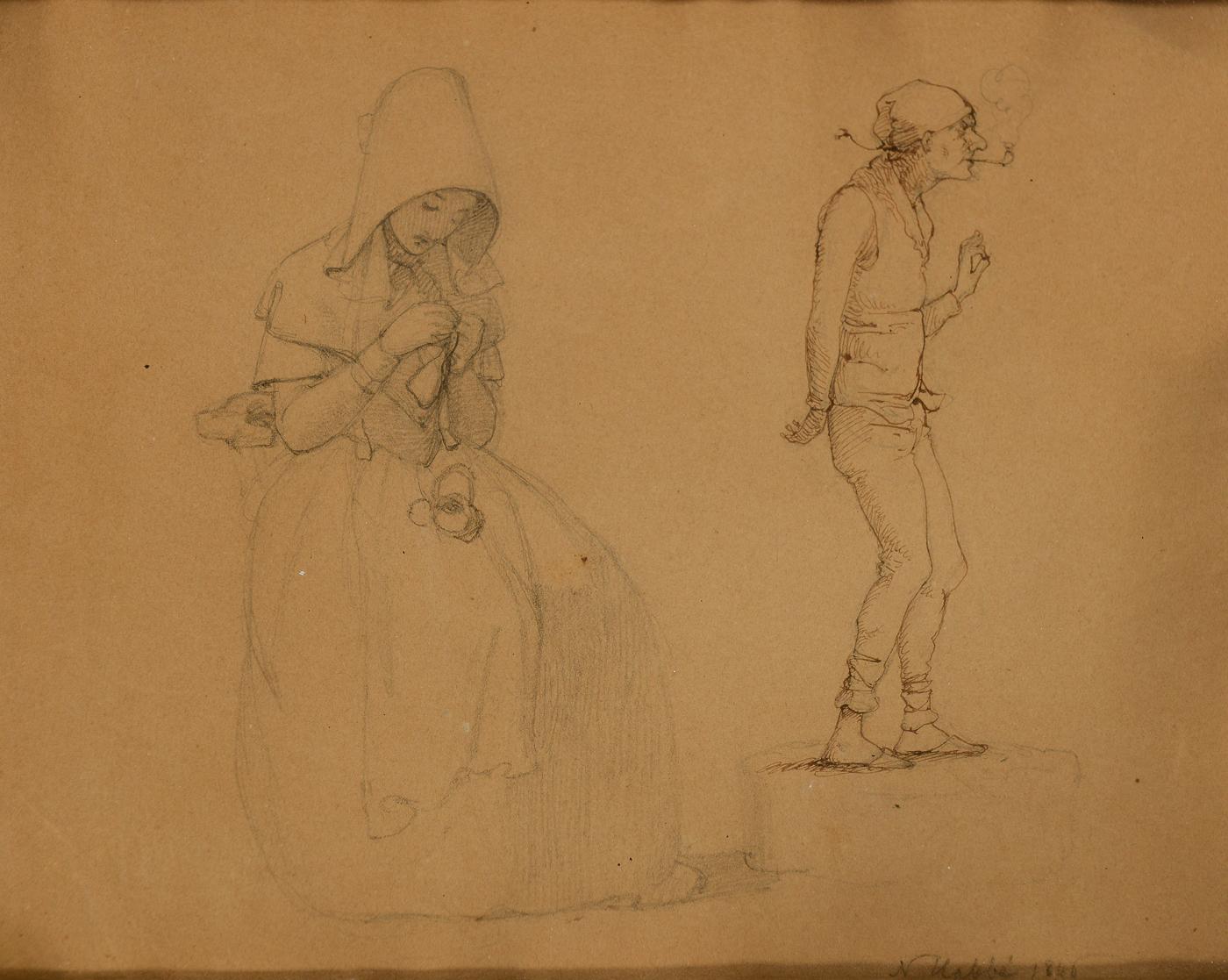 Nicolai Habbe Studie af mand og kvinde - Nicolai Habbe 1827-1889 Studie af mand og kvinde, bly og pen på papir monteret på pap, sign N. Habbe 1846. 17,5 x 22,5 cm ( 20,5 x 25,5 cm)