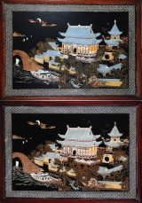Two Chinese works made of wood with, 20th century (2)