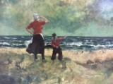 W. Reynderz, oil on wood, Dutch coast