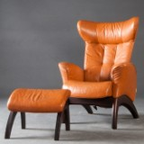 Lounge chair/armchair with ottoman/footstool for Brunstadt (2)