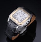 Cartier 'Santos 100 XL' men's watch, 18 kt. gold and steel, original strap and clasp, 2010's