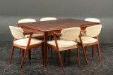 Kai Kristiansen. Six chairs, rosewood and wool, model 42, with table (9)