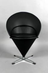 Verner Panton. Cone Chair, reupholstered in black Savannah leather