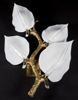 Two floral wall lamps, Murano glass, likely Barovier & Toso (2)