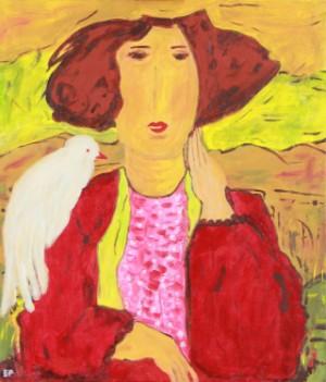 Elsabeth Kloster Palm. Pige med fugl - Dk, Herning, Engdahlsvej - Elsabeth Kloster Palm (f. 1941). 'Pige med fugl', akryl på lærred, sign. Elsabeth. 60 x 50 cm. UR. - Dk, Herning, Engdahlsvej
