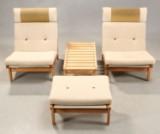 Bernt Pedersen. Par lænestole, skammel samt sidebord 'Kludestolen' / The Rag Chair (3)