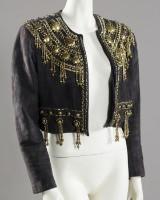 Gianni Versace, jakke, ruskind, sort med messingapplikationer