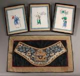 Kina. Tre silkemalerier samt samt broderi, 18-1900-tallet (4)